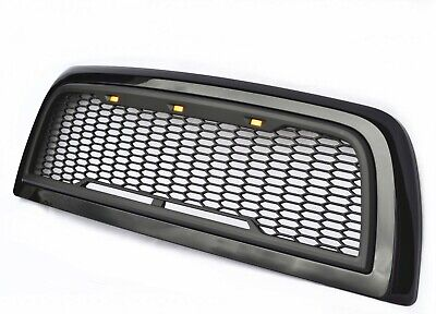 Replacement For 10-18 Dodge Ram 2500 3500 Glossy/Matte Black Grille W/LED Lights
