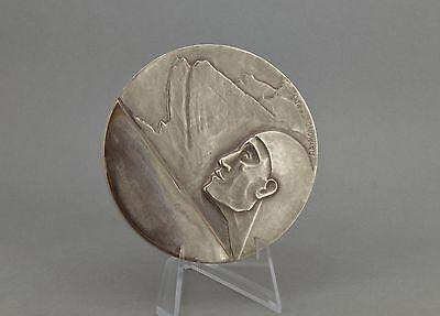 Art Deco silvered bronze Club Alpin Francais medal Raymond Templier 1935 France