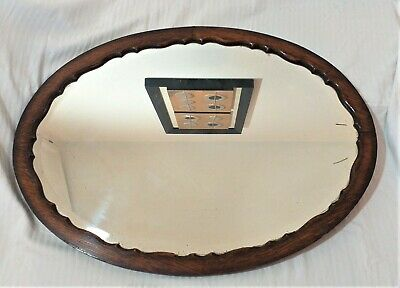 LARGE ANTIQUE SHABBY CHIC OVAL CARVED SOLID OAK BEVELLED EDGE WALL MIRROR