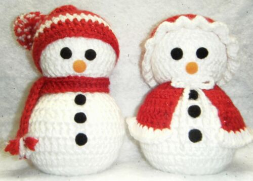 HANDMADE CROCHETED MR. AND MRS. SNOWMAN GLITTERY RED COLOR