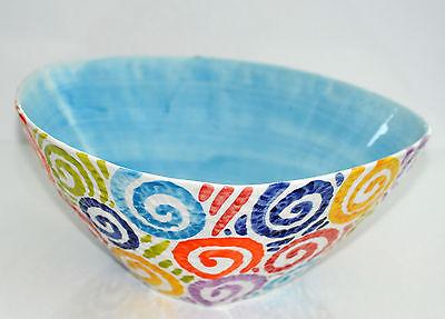 Azure Blau Keramik (BASSANO KERAMIK  Schüssel 32 cm BUNTE SPIRALEN Azurblau MEDITERRANES GESCHIRR)