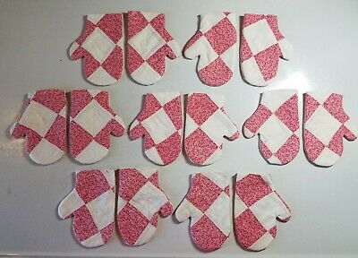 Cutter Quilt Mittens Red & White 7 Pair You Finish Christmas Ornaments