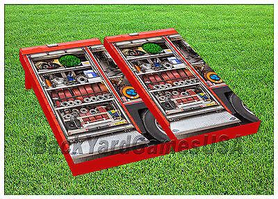 Fire Hose Games (VINYL WRAPS Cornhole Boards DECALS Fire Truck Hose Bag Toss Game Stickers 194 )