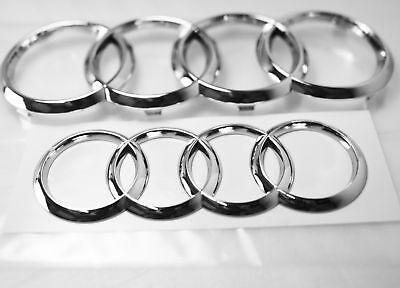 06-12 Audi Ring Chrome Front Rear A3 A4 S4 A5 S5 A6 A7 S6 sSQ7 TT Badge Emblem