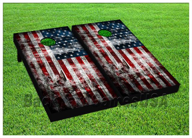 american flag usa cornhole beanbag toss game w bags game boards vintage set 989 - Cornhole Sets