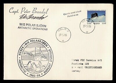 DR WHO 1986 NORWAY CAPTAIN SIGNED POLARBJORN SHIP ANTARCTIC OPERATIONS  C243329