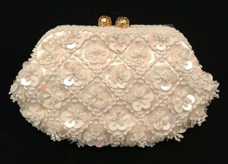 Vintage Bride Clutch Purse Ivory Sequined Beaded Neiman Marcus Original Box