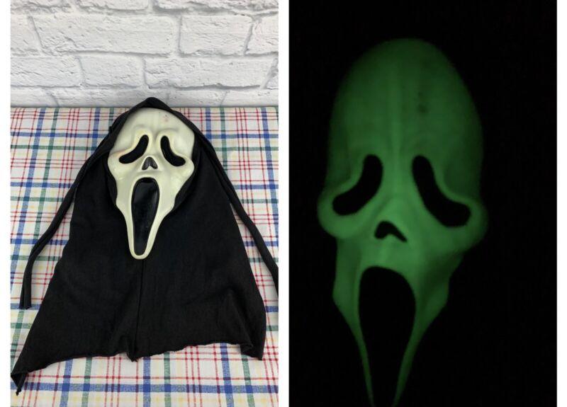 Scream ghost face Halloween mask w/ cotton hood Easter Unlimited glow in dark