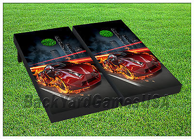 VINYL WRAPS Cornhole Boards DECALS Fire Red Car Black Bag Toss Game Stickers (Fire Car Games)