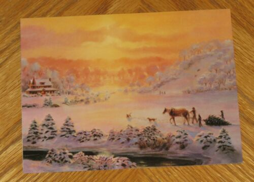 Bill Suys Art - Perfect Tree - Winter Sunset - Western Lang Christmas Card 4ct