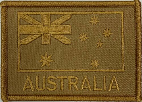 Khaki Tan Subdued Australia Flag Patch with hook & loop back BRAND NEW !