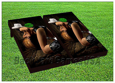 VINYL WRAPS Cornhole Boards DECALS Sexy Bad Cowgirl Bag Toss Game Stickers