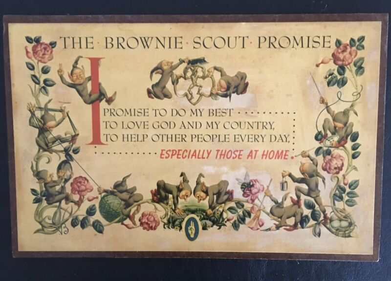 Vintage Girl Scouts BROWNIE PLAQUE-BROWNIE SCOUT PROMISE1950's