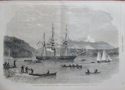 Isle of Vancouver View the Port Harvey Boat Engraving L Universe Illustre 1866 for sale  Shipping to Canada