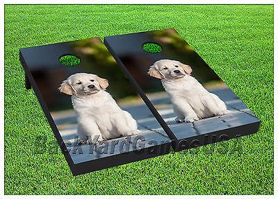 VINYL WRAPS Cornhole Boards DECALS Little Puppy Lab BagToss Game Stickers 388 ()