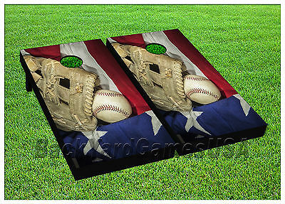 Baseball Bean Bag Board -  CORNHOLE BEANBAG TOSS GAME w Bags Game Boards Baseball USA Sports Set 979