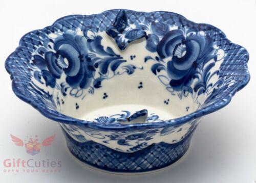 Gzhel Porcelain salad dish bowl server basket w butterfly Hand-painted