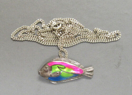 """Fab Kabana Sterling Silver Enamel Fish Pendant @20"""" Sterling Neck Chain Necklace"""