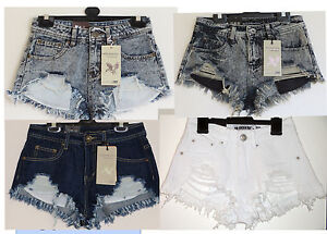 Ladies-women-Acid-Black-Blue-Frayed-Distressed-Denim-Hotpants-Shorts-sz6-14