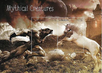 Liberia 2014 MNH Mythical Creatures 2v S/S Werewolf Unicorn Stamps