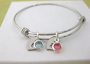 Personalized Adjustable Bangle Bracelet 2 Birthstones & Hearts with Initial Gift