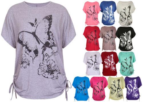 da donna con fiori stampa farfalla corto maniche a pipistrello T-shirt TOP