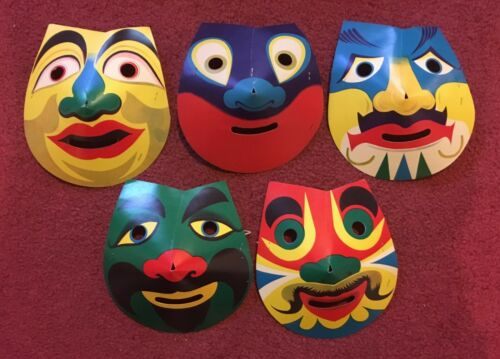 Vintage Halloween Set of 5 Cardboard Masks - Made in Japan - Unused