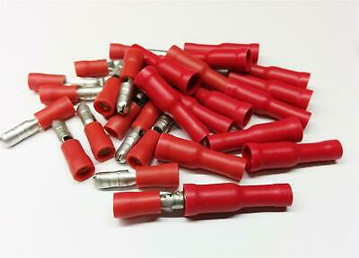 50x Red Bullet Set Crimp Terminal Insulated Connector Electrical Audio Wiring