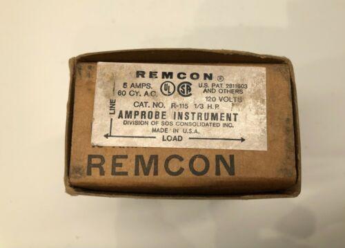Remcon R-115 5 Amp 120 Volt 1/3 HP Amprobe Instrument Relay 120V 5A - New in Box