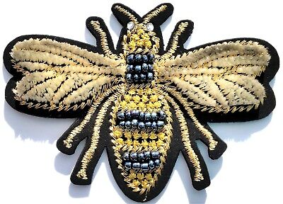 Bee Craft - Bee Velvet Beaded Gold Embroidered Iron On Patch Applique Vintage Crafts Quality