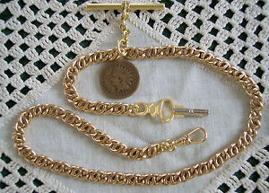 Victorian / Civil War Pocket Watch Chain w/ Key Fob