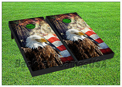 VINYL WRAPS Cornhole Boards DECALS USA Bald Eagle Bag Toss Game Stickers