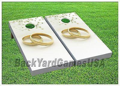 WEDDING Custom Cornhole Boards BEANBAG TOSS GAME wBags Wedding Rings Outdoor 338