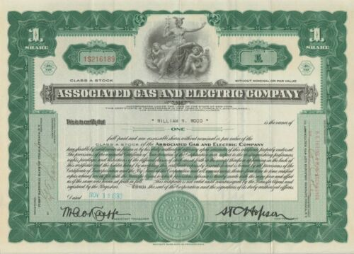 1930 Associated Gas & Electric Company Stock Certificate