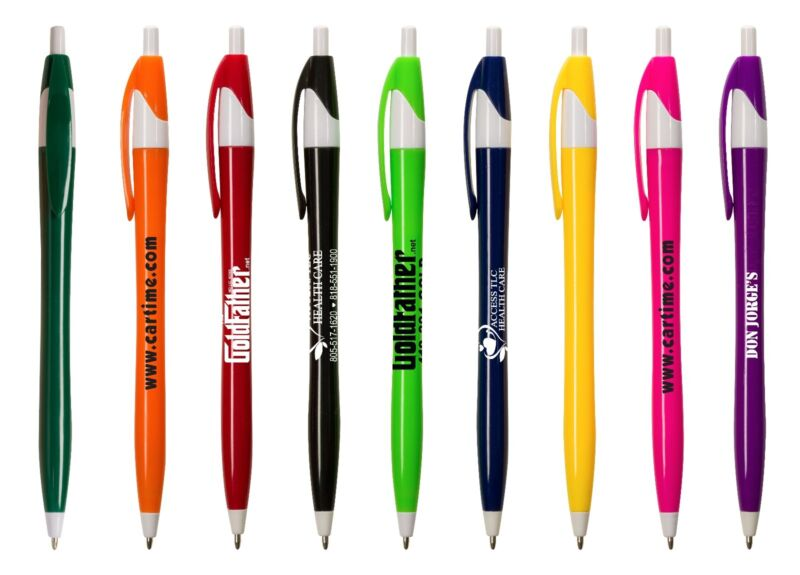 300 Promotional Plastic Click Pens - White or colored Barrel - Free Shipping