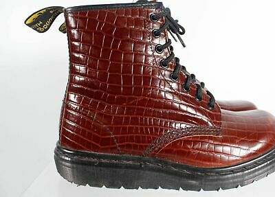 Dr. Martens Made In England Brown Leather Women's Faux Croc Lace Up Boots Size 6