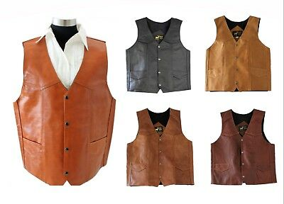 NEW Men's Western Leather Vest Genuine Cowhide Outback Biker Snap Cowboy Mexico - Vest Cowboy