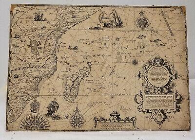 Antique Early Jan Hyugen Van Linschoten Map Africa Madagascar Dutch Engraving