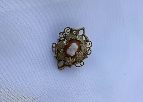 Antique GF Victorian Shell Cameo Brooch Miniature Pin Intricate Pearls Leaves