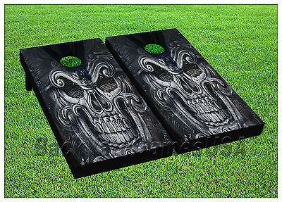 CORNHOLE BEANBAG TOSS GAME w Bags Game Boards Skull Halloween Scary Set - Halloween Bean Bag Toss