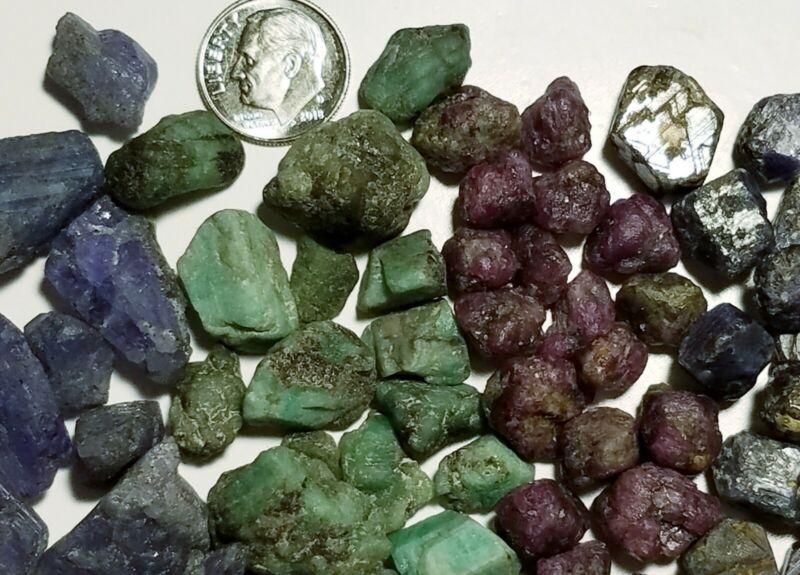 300+carats Lot Natural Blue Sapphire Emerald Ruby & Tanzanite Rough Crystals
