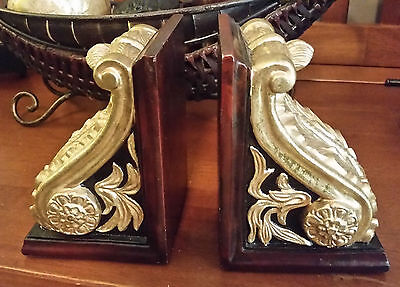 Pair of Ornate Gold Acanthus Leaf / Scroll Corbel Bookends w/Faux Wood Frame
