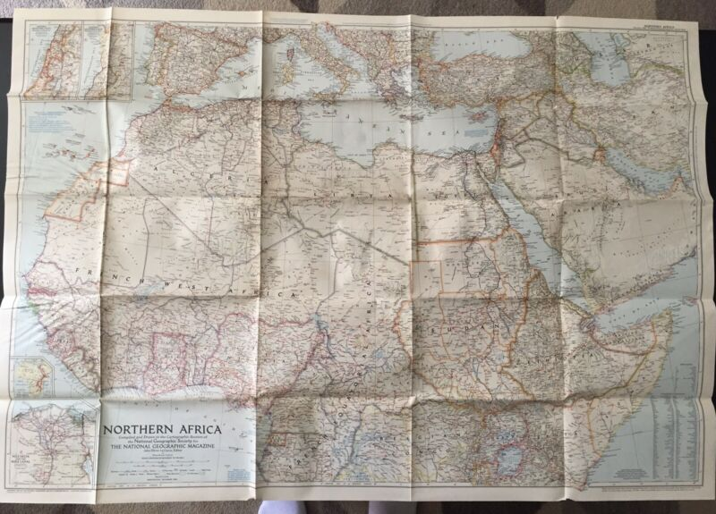 Vintage 1954 National Geographic Society Map of Northern Africa