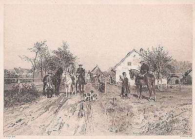 W. Velten: Aufbruch zur Jagd. Radierung von W. Woernle, 1894