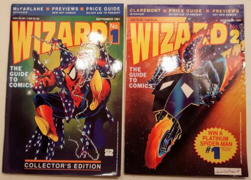 WIZARD Comic Book Price Guide Issues #1 & #2 1991 Near Mint w/Posters -Mcfarlane