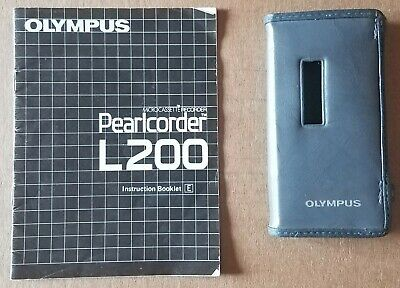Case And Manual For Olympus Pearlcorder L200 Microcassette Recorder - No Unit