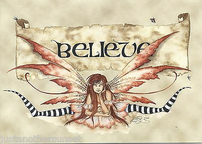Amy Brown Fairy Greeting Gift Card Believe Faery Print Tan Pink Wings