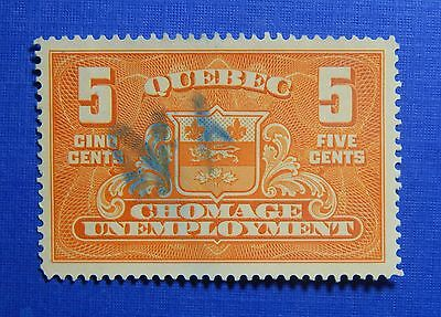 1934 5C Canada Quebec Unemployment Relief Tax Revenue Vd  Qu1 B  1 Used  Cs32389