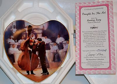 Lucille Ball I LOVE LUCY & Desi CAUGHT IN THE ACT Heart Plate COA-NEW IN BOX