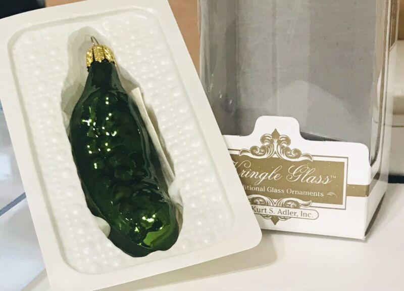 "Pickle Christmas Ornament 3"" Kringle Glass Kurt S. Adler Hand Made Collectible"